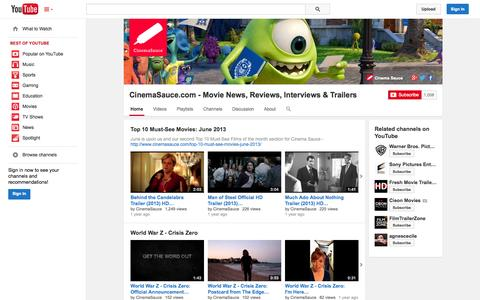 Screenshot of YouTube Page youtube.com - CinemaSauce.com - Movie News, Reviews, Interviews & Trailers  - YouTube - captured Oct. 22, 2014