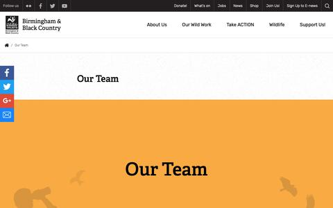 Screenshot of Team Page bbcwildlife.org.uk - Our Team | The Wildlife Trust for Birmingham and the Black Country - captured Oct. 18, 2018