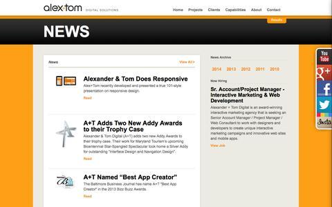 Screenshot of Press Page alextom.com - News | AlexTom - captured Oct. 4, 2014