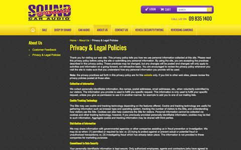 Screenshot of Privacy Page soundaround.co.nz - Privacy & Legal Policies - captured Oct. 24, 2014
