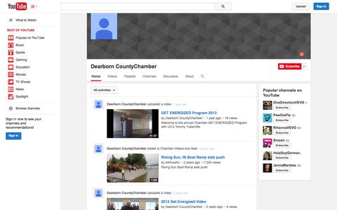 Screenshot of YouTube Page youtube.com - Dearborn CountyChamber  - YouTube - captured Oct. 23, 2014