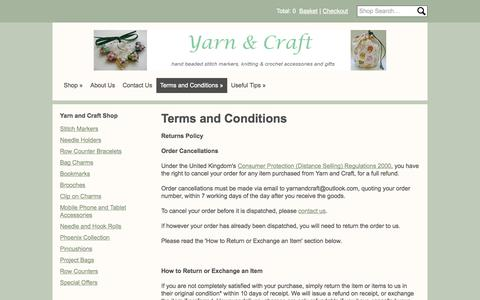 Screenshot of Terms Page yarnandcraft.co.uk - Terms and Conditions - captured Oct. 4, 2014