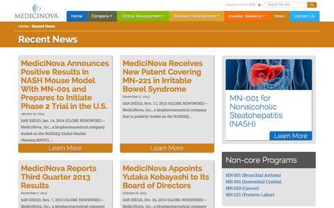 Screenshot of Press Page medicinova.com - Recent News | MediciNova, Inc. - captured Sept. 16, 2014
