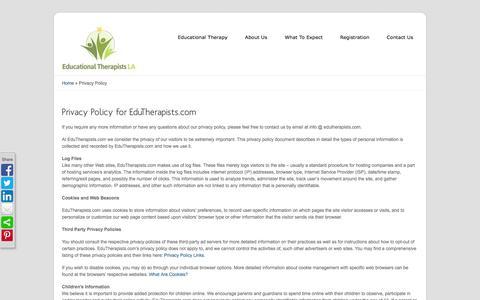 Screenshot of Privacy Page edutherapists.com - Privacy Policy - EduTherapistsLA.com - captured Oct. 2, 2014