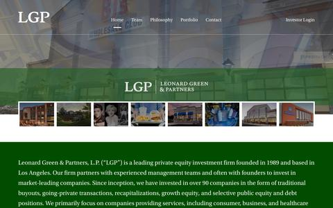 Screenshot of Home Page leonardgreen.com - Leonard Green and Partners | Leading private equity investment firm based in Los Angeles - captured Sept. 28, 2018