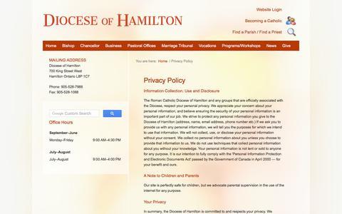 Screenshot of Privacy Page hamiltondiocese.com - Contact Us | Diocese of Hamilton | Hamilton Ontario Canada - captured Nov. 1, 2017