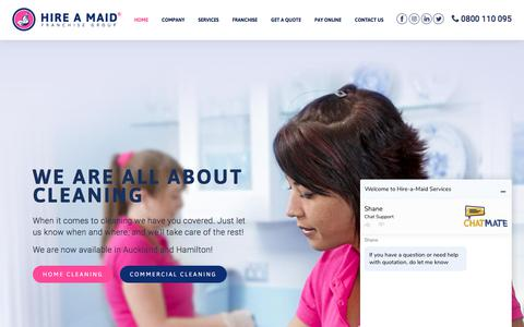 Screenshot of Home Page hire-a-maid.co.nz - Hire a Maid Franchise Group | Auckland and Hamilton | Professional Home Cleaning - captured July 1, 2018