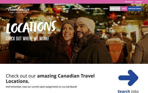 Screenshot of Locations Page travelnurse.ca - Travel Nursing Assignment Locations Canada | TravelNurse - captured Oct. 20, 2018