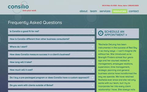 Screenshot of FAQ Page thinkconsilio.com - FAQs - Consilio Business Managers - captured Jan. 31, 2016