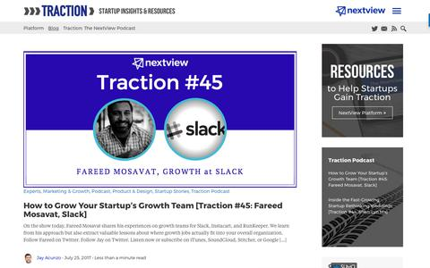Startup Traction Blog from NextView