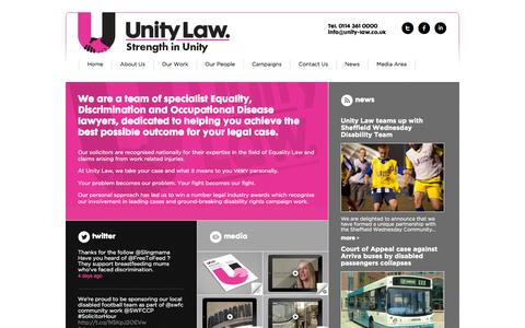 Screenshot of Home Page unity-law.co.uk - Welcome to Unity Law - Unity Law - captured Sept. 30, 2014