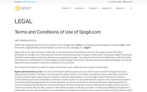 Legal, Terms and Conditions of Use - Spigit
