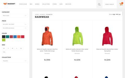 Screenshot of wildcraft.in - Wildcraft Women's Rainwear - Buy Hiking Rainwear Online in India - captured March 19, 2016