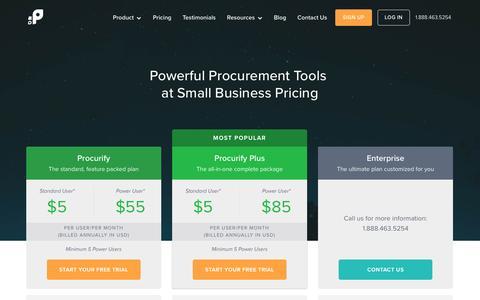 Screenshot of Pricing Page procurify.com - Purchasing Software Pricing | Procurify - captured Jan. 19, 2016