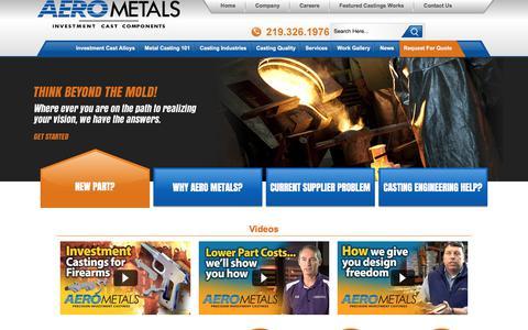 Screenshot of Home Page aerometals.com - Investment Castings   Precision Metal Castings - captured Oct. 7, 2017