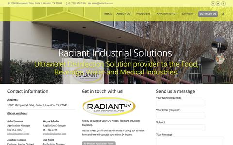 Screenshot of Contact Page radiantuv.com - Radiant Industrial Solutions | CONTACT US - captured Oct. 27, 2014