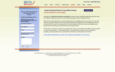 Screenshot of Pricing Page dkfwriting.com - Austin Technical Writer - Freelance Writer Pricing - Call 512-567-3414 - captured Oct. 5, 2014