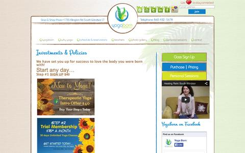 Screenshot of Pricing Page yogaborn.com - Investments & Policies — Yoga Born Studios   Yoga & Healing Arts   1735 Ellington Road, South Windsor CT   860-432-5678 - captured Sept. 30, 2014
