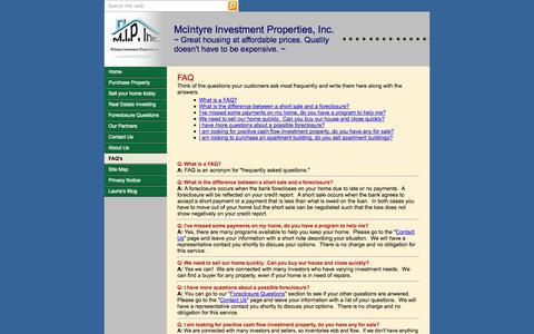 Screenshot of FAQ Page mcinvestment-properties.com - FAQ's - captured Nov. 3, 2014