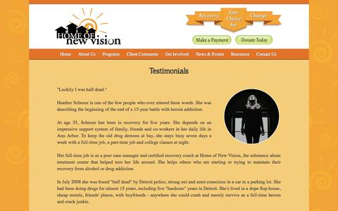Screenshot of Testimonials Page homeofnewvision.org - Home of New Vision - captured Sept. 30, 2014