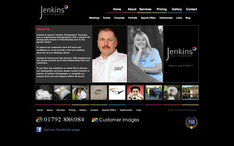 Screenshot of About Page jenkins-photography.co.uk - Wedding & Event Photographers Jenkins Photography, Swansea West Glam - captured Jan. 9, 2016