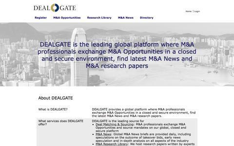 Screenshot of FAQ Page dealgate.com - DEALGATE   The global platform for M&A professionals - captured June 3, 2017
