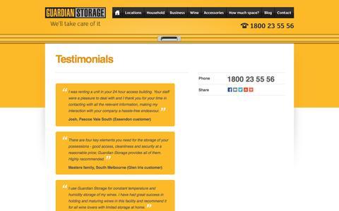 Screenshot of Testimonials Page guardianstorage.com.au - Guardian Storage - captured Sept. 30, 2014