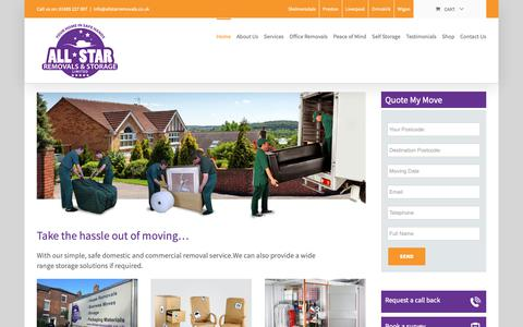 Screenshot of Home Page allstarremovals.co.uk - Home - All-Star Removals - captured Dec. 9, 2018