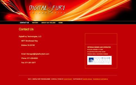 Screenshot of Contact Page digitalfurytech.com - Contact Us < Digital Fury Technologies - captured Oct. 5, 2014