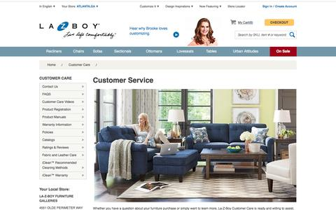 Screenshot of Support Page la-z-boy.com - Customer Service - captured July 10, 2016