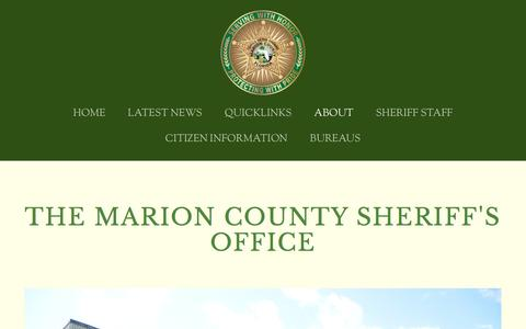 Screenshot of About Page marionso.com - ABOUT — Marion County Sheriff's Office - captured Aug. 30, 2016