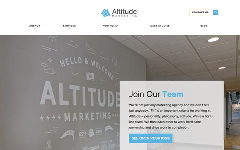 Screenshot of Jobs Page altitudemarketing.com - Work With Us | Altitude Marketing - captured June 13, 2019
