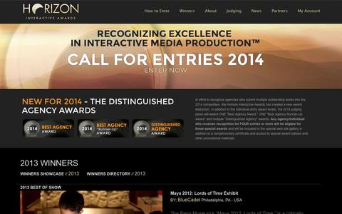 Screenshot of Home Page horizoninteractiveawards.com - Horizon Interactive Awards : Web Design Awards | Awards for Web Sites, Mobile Apps, Video and Print - captured Sept. 30, 2014