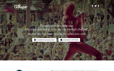 Screenshot of Home Page thapir.sk - Thapir | Thapir vysnorí čo sa deje vo vašom okolí - captured March 16, 2016