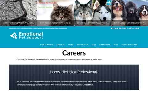 Screenshot of Jobs Page emotionalpetsupport.com - Careers - Emotional Pet Support - captured July 9, 2018