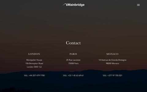 Screenshot of Contact Page wainbridge.com - Contact - Wainbridge - captured Feb. 17, 2016