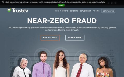 Screenshot of Pricing Page trustev.com - Trustev antifraud technology   Data fingerprinting to stop fraud - captured Sept. 12, 2014