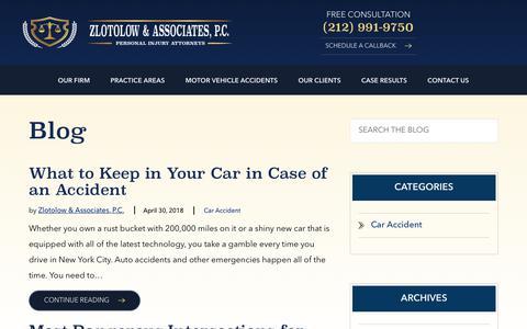 Screenshot of Blog zlotolaw.com - Legal Blog | Zlotolow & Associates, P.C. - captured Oct. 18, 2018