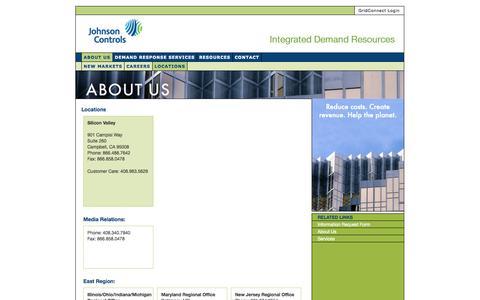 Screenshot of Locations Page energyconnectinc.com - Demand Response Energy Management Technology - Johnson Controls  » Locations - captured Oct. 2, 2014