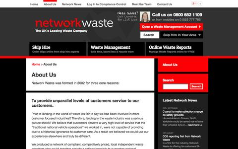 Screenshot of About Page networkwaste.co.uk - About Network Waste | About Waste Management | Network Waste - captured Oct. 9, 2014