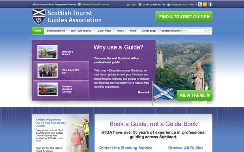 Screenshot of Home Page stga.co.uk - Scottish Tourist Guides Association - Quality Bespoke Tours of Scotland - captured Sept. 19, 2014