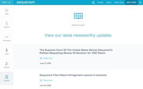 Screenshot of Press Page sequenom.com - Sequenom Press Releases - captured July 3, 2016