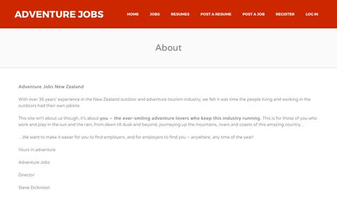 Screenshot of About Page adventurejobs.co.nz - About us | Adventure Jobs - captured Oct. 7, 2017
