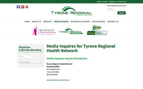 Screenshot of Press Page tyroneregionalhealthnetwork.org - Media Inquiries | Media Contact | Tyrone Regional Health Network - captured Feb. 26, 2016