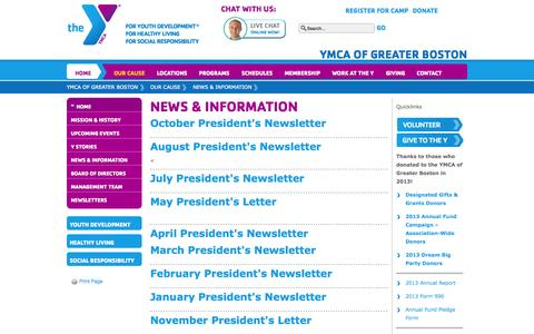 Screenshot of Press Page ymcaboston.org - February President's Newsletter | YMCA of Greater Boston - captured Oct. 30, 2014
