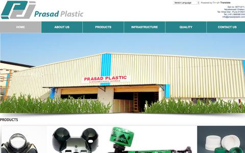 Screenshot of Home Page Support Page prasadplastic.com - Prasad Plastic Engineering Works: Prasad Plastic Pune, Prasad Plastic Engineering Works Pune, Plastic Components Like Plastic Door Handles,Plastic Bottles,Speedometer Housing,Pharmaceutical Plastic Products,Plastic Sprayers,Inserted Moulded Component - captured Oct. 9, 2017