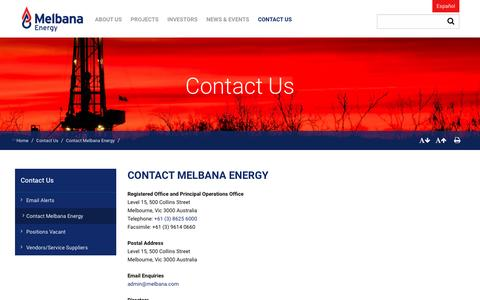 Screenshot of Contact Page meoaustralia.com.au - Contact Us | Melbana Energy Limited - captured Nov. 28, 2016