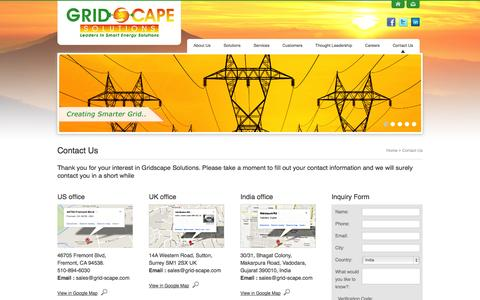 Screenshot of Contact Page grid-scape.com - Contact Us - Smart Energy Solutions, Designing and Development, Engineering and consultancy services - captured Oct. 3, 2014