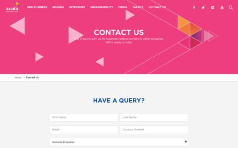 Screenshot of Contact Page axiata.com - Contact Us | Axiata - captured May 3, 2019