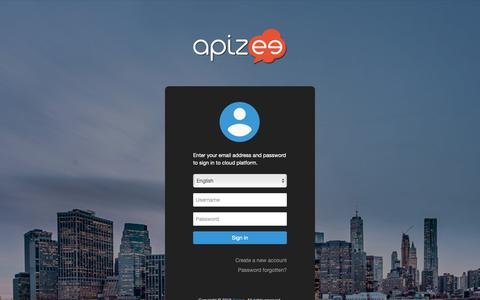 Screenshot of Login Page apizee.com - Apizee cloud dashboard - captured Oct. 21, 2018